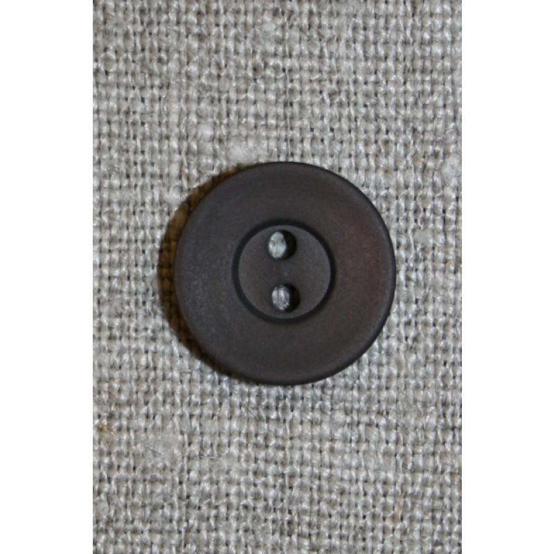 Mørkebrun 2-huls knap, 15 mm.