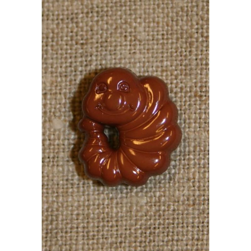 Knap m/kålorm, brun