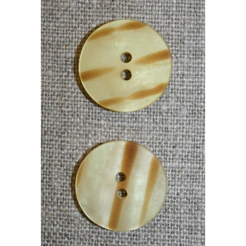 2-huls knap stribet gylden/lysebrun, 20 mm