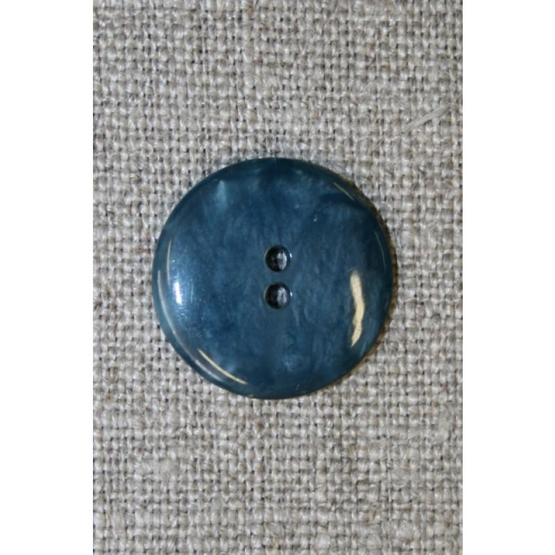 Petrol-blå meleret 2-huls knap, 18 mm.