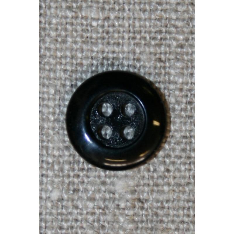 Sort 4-huls knap, 12 mm.-31