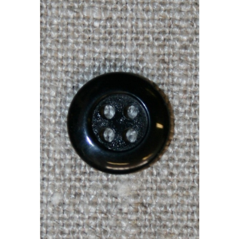 Sort 4-huls knap, 12 mm.