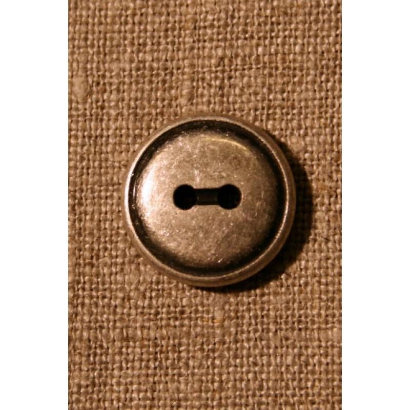 2-huls gl. sølv knap, 17 mm.-31