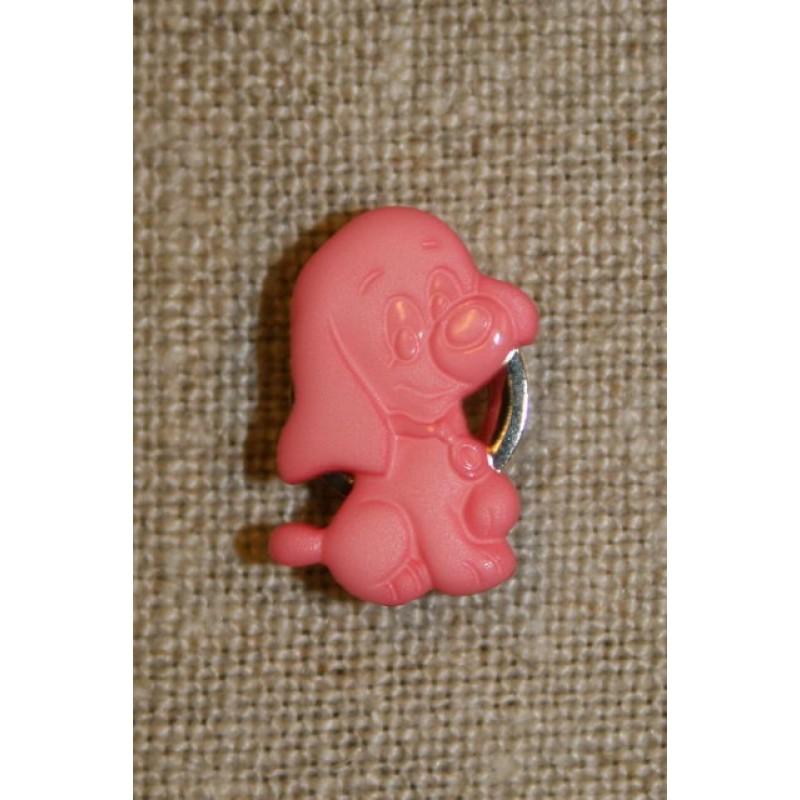 Knap m/hund, lyserød