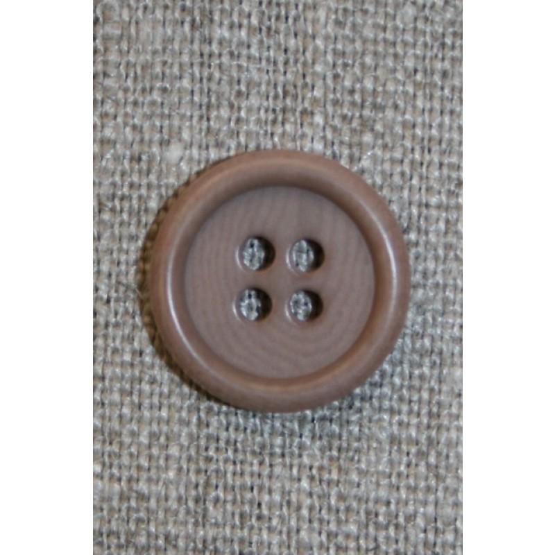 Lysebrun 4-huls knap, 16 mm.