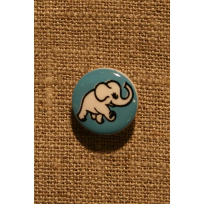 Knap m/elefant, blå-33