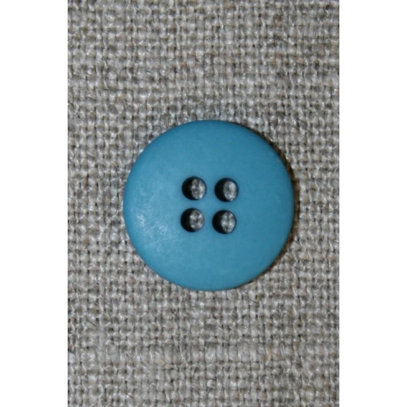 Blå-petrol 4-huls knap, 15 mm.-31