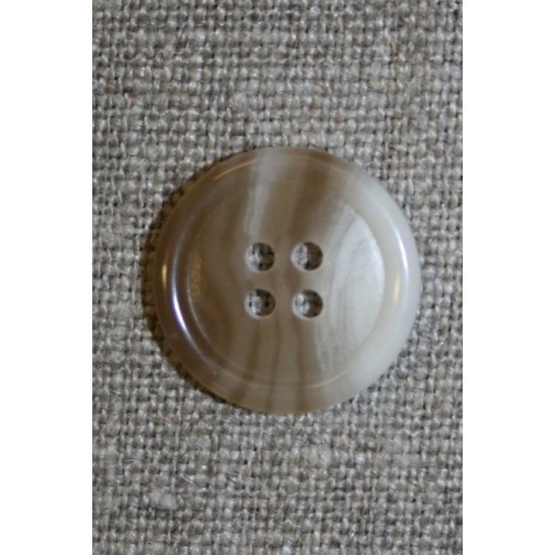 Meleret 4-huls knap lysebrun/off-white, 18 mm.-31