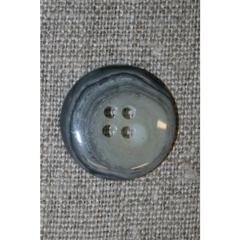 Meleret 4-huls knap lys grå/koks, 22 mm.-35