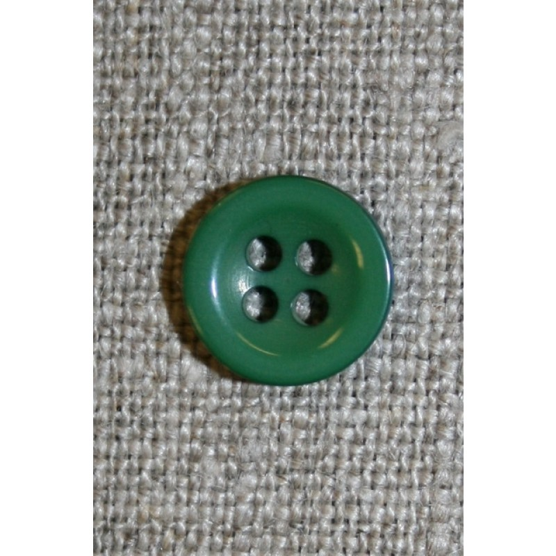 Lille grøn 4-huls knap, 11 mm.