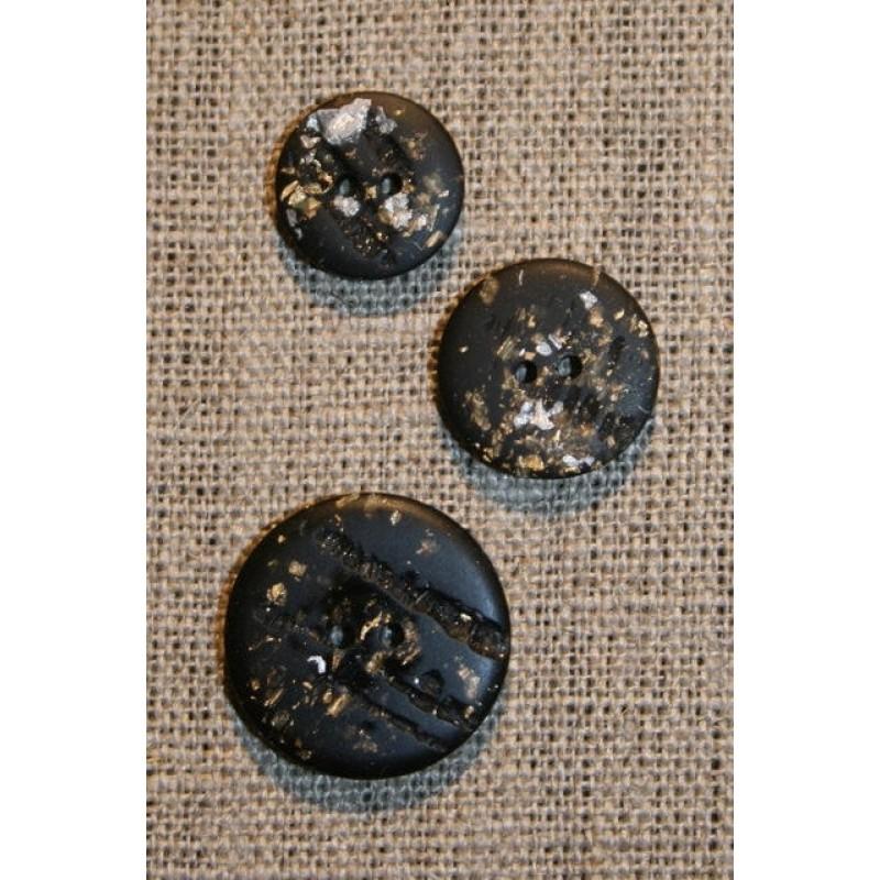 Knap m/guld & sølv glimmer, sort