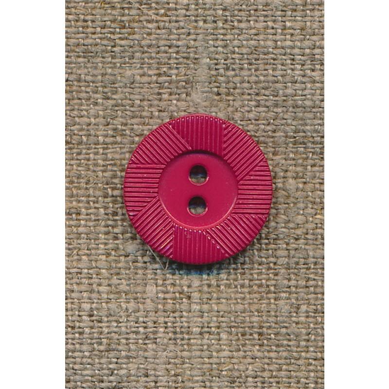 Hindbærrød knap m/riller-31