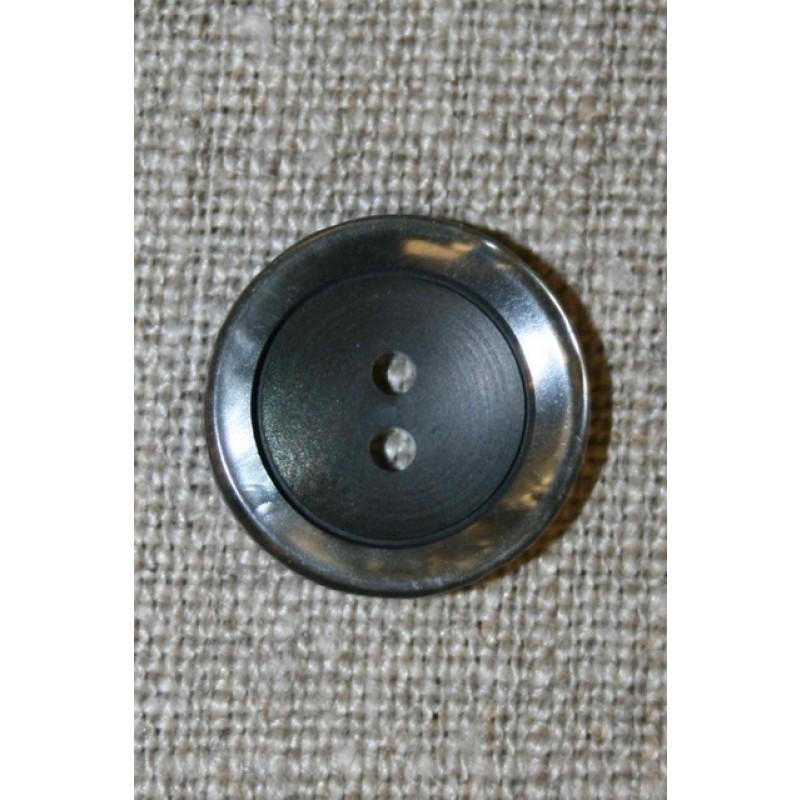 Koksgrå 2-huls knap m/blank kant-31