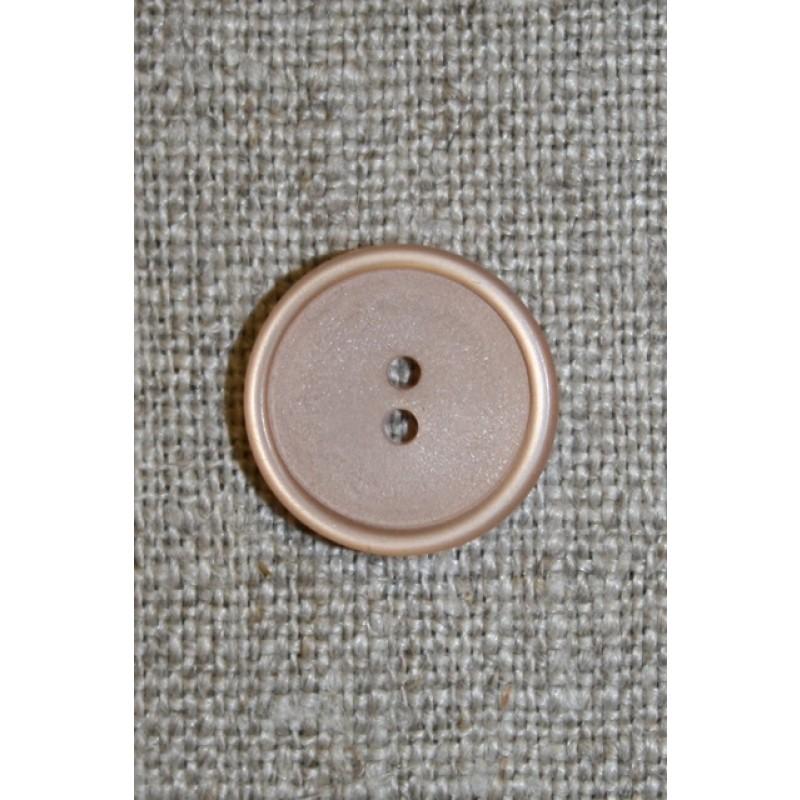 Lysebrun/beige 2-huls knap, 15 mm.-31