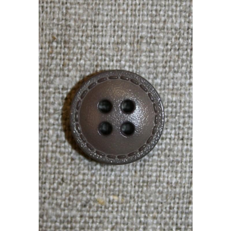 Grå-brun knap m/stikning, 15 mm.-31