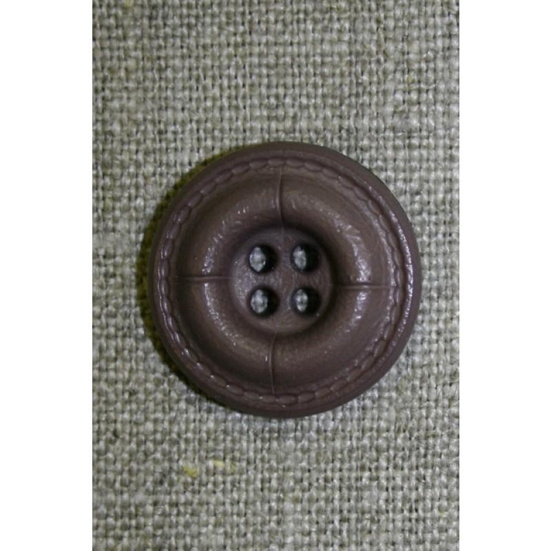 Grå-brun 4-huls knap i læder-look