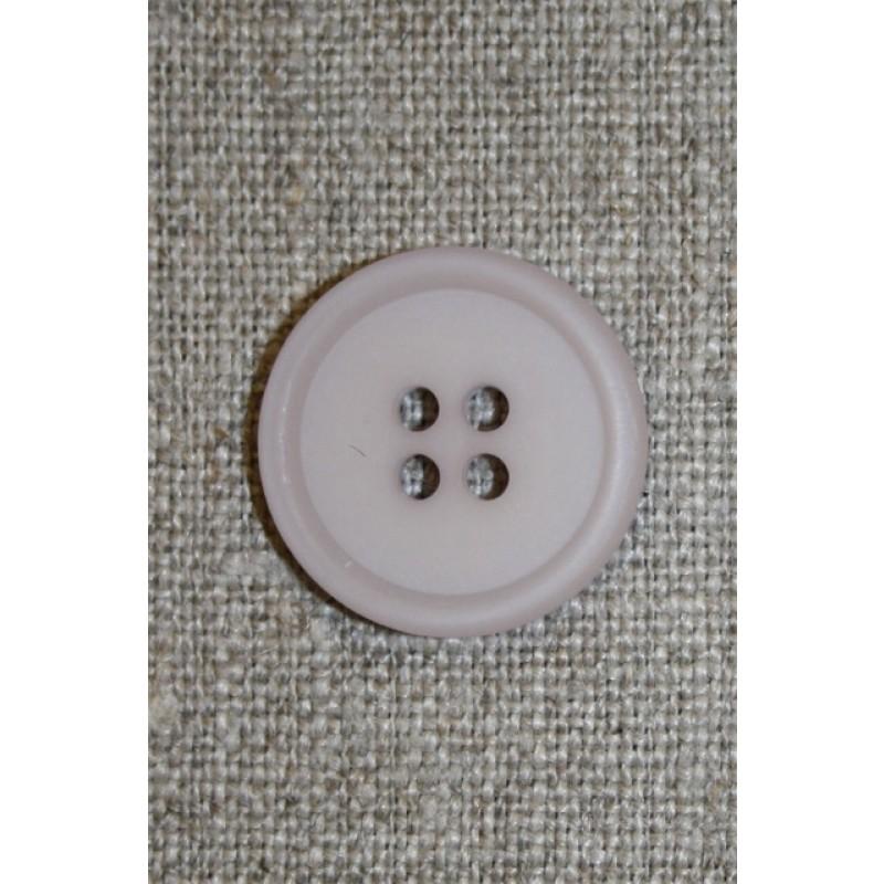 Lys grå-lilla 4-huls knap, 20 mm.