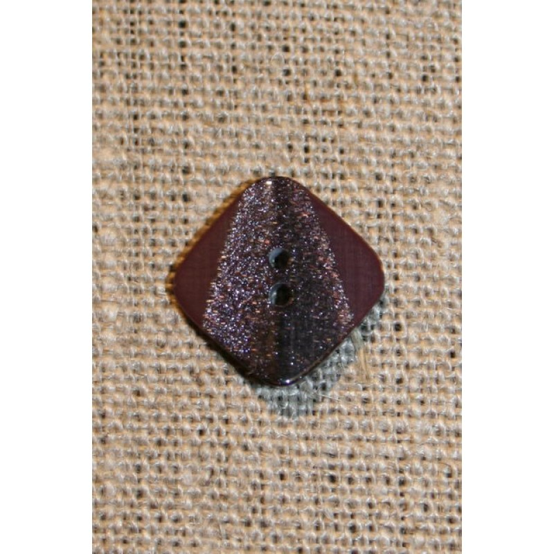 Firkantet knap m/glimmer, 18 mm. vinrød-31