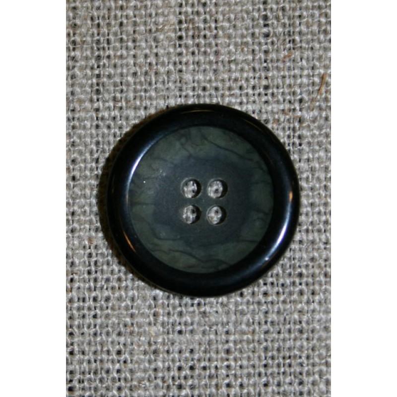 Grå/grøn meleret knap m/sort kant 20 mm.