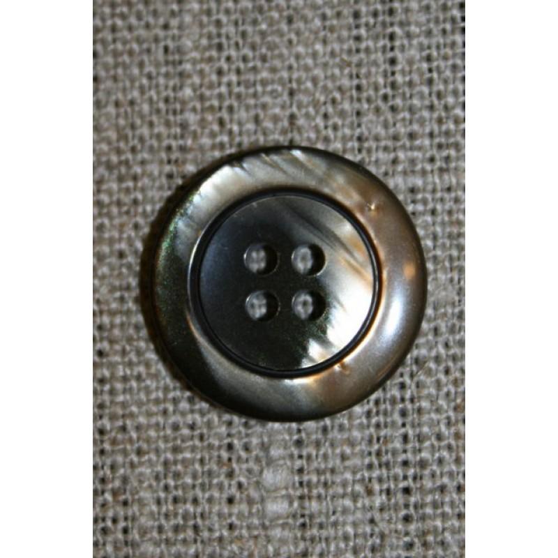 4-huls knap brun meleret 22 mm.-35