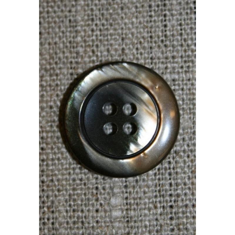 4-huls knap brun meleret 20 mm.