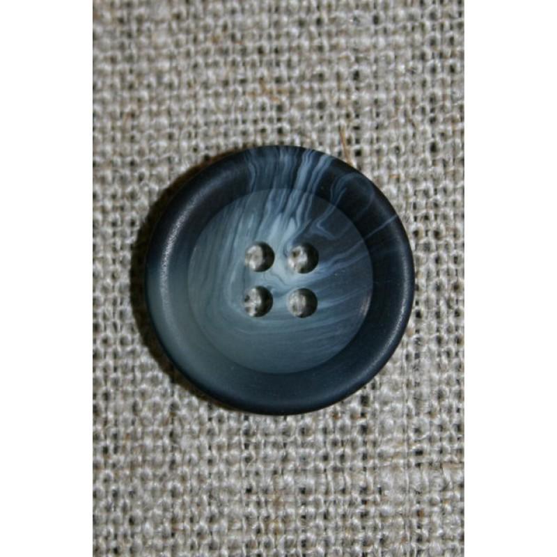 Grå/blå-meleret 4-huls knap-33