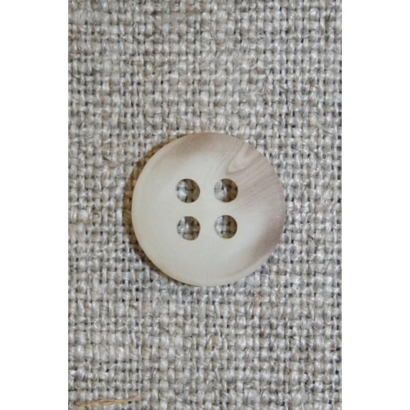 Off-white/lysebrun meleret 4-huls knap, 13 mm.-31