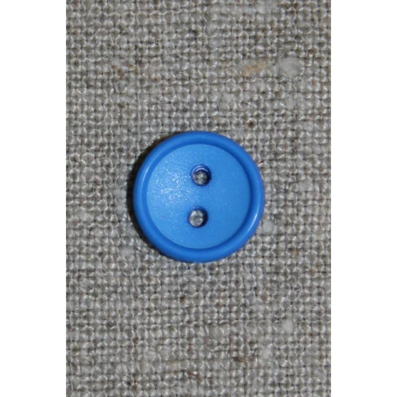 Klar blå knap, 12 mm.