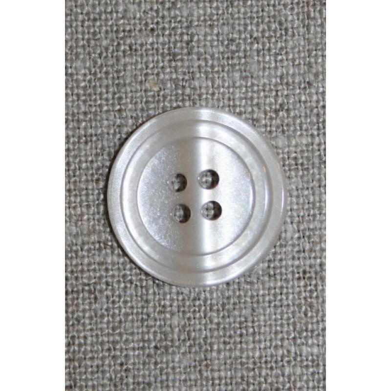 Knækket hvid 4-huls knap, 20 mm.