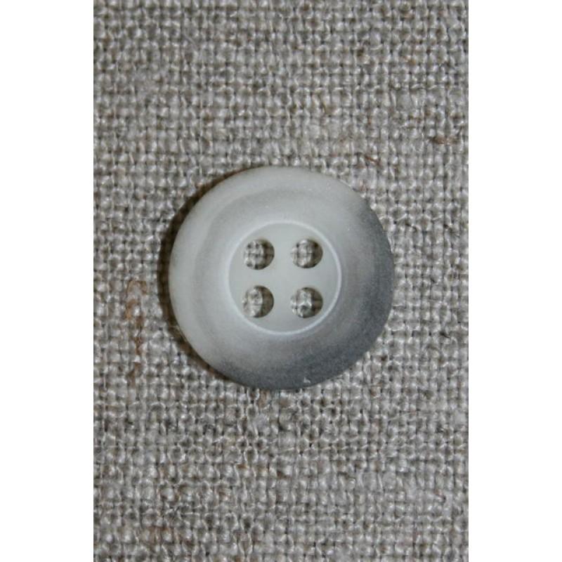 Grå-meleret 4-huls knap, 15 mm.-31