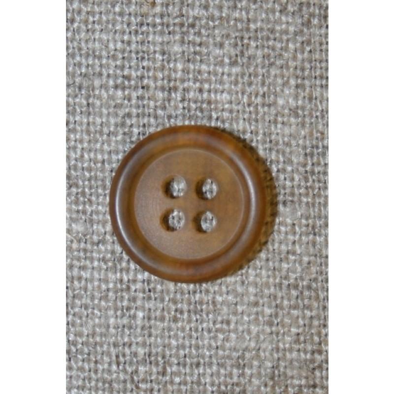Meleret knap klar/brun , 15 mm