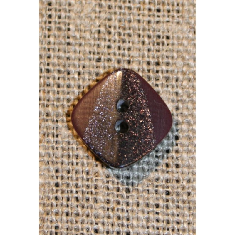 Firkantet knap m/glimmer, vinrød 15 mm.