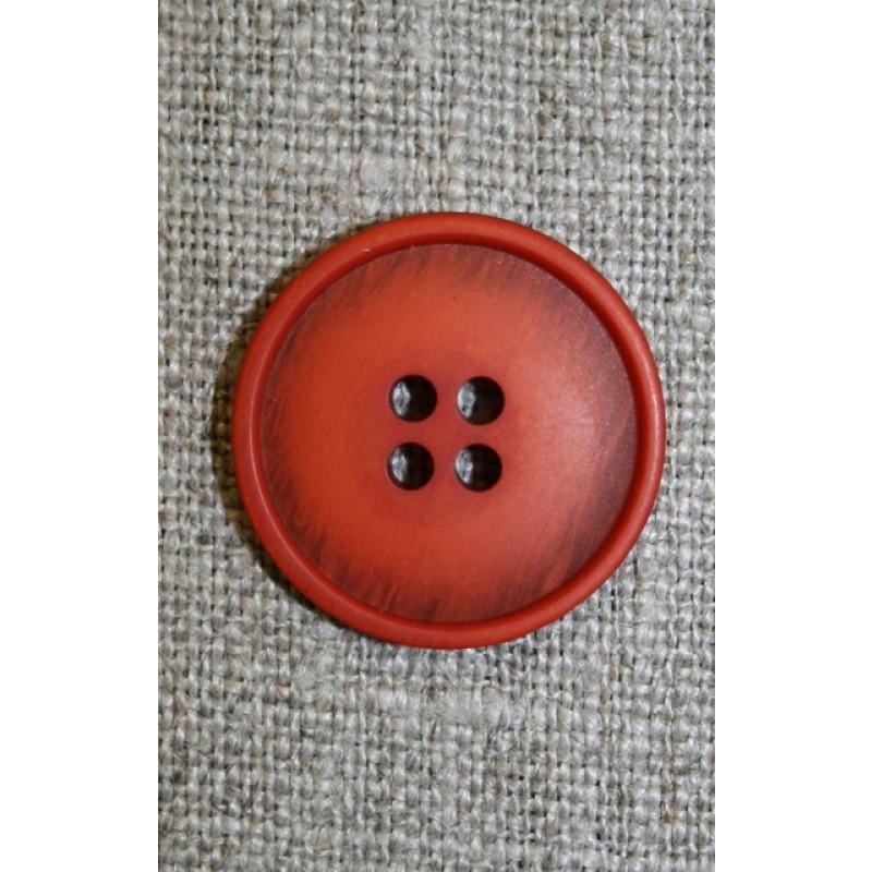 4-huls knap lys brændt orange-meleret, 20 mm.