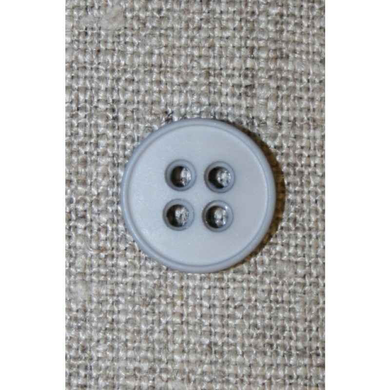 Lysegrå 4-huls knap, 15 mm.