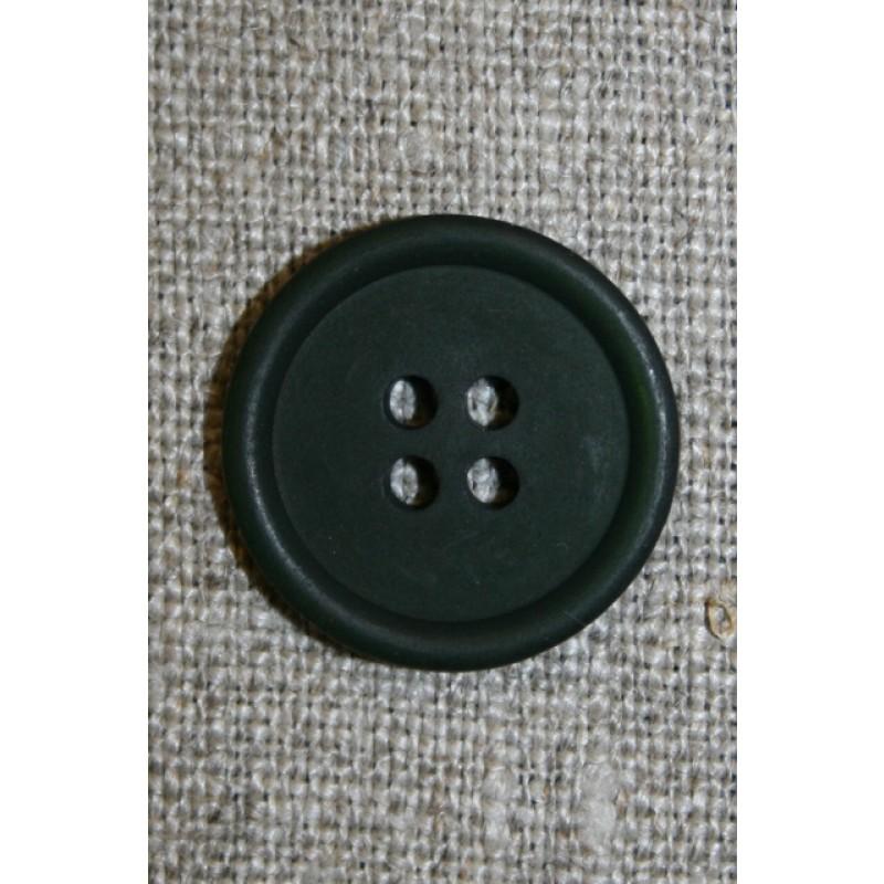 Flaskegrøn 4-huls knap, 18 mm.