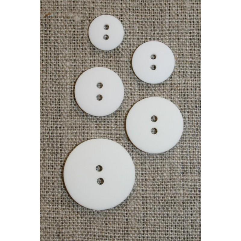 Knækket hvid 2-huls knap 18 mm