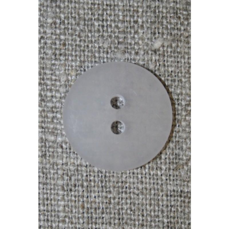 Hvid/klar 2-huls knap. 18 mm.