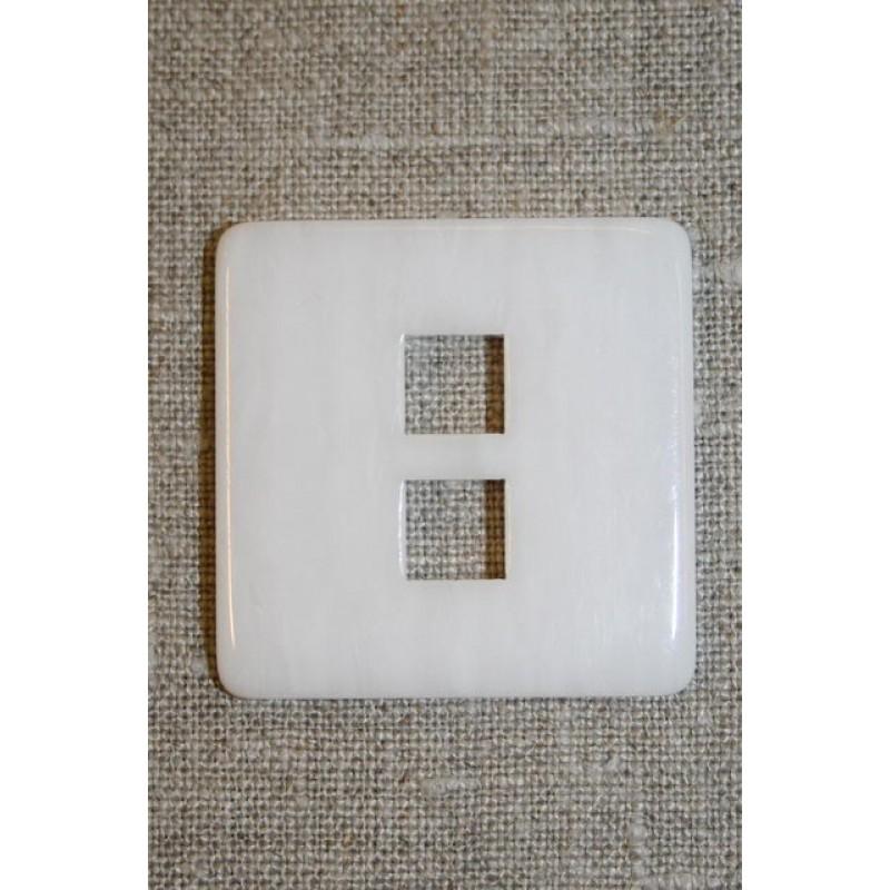 Stor firkantet knap, hvid-33