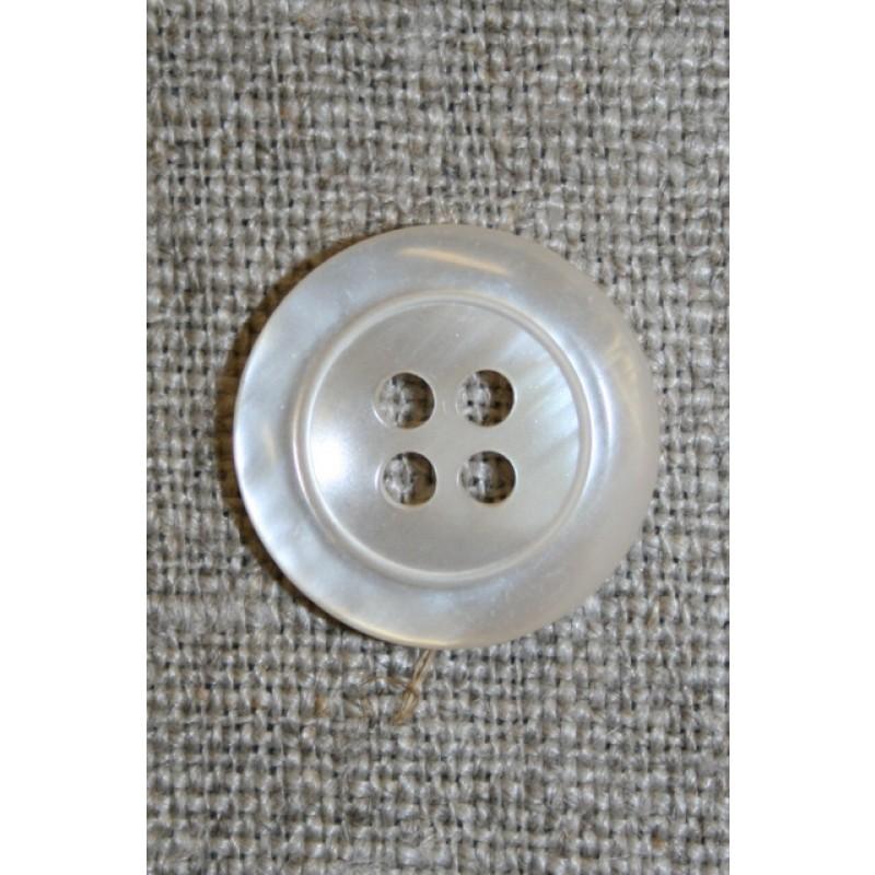 4-huls knap off-white perlemors-look, 23 mm.