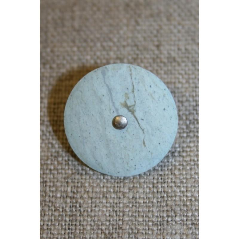 Aqua knap m/sølv prik, 20 mm.