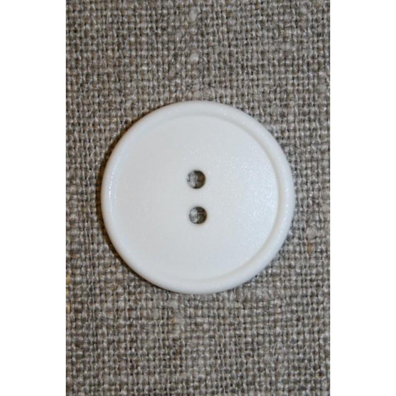 Hvid 2-huls knap, 22 mm.-31