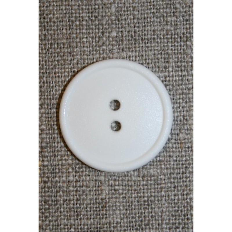 Hvid 2-huls knap, 22 mm.