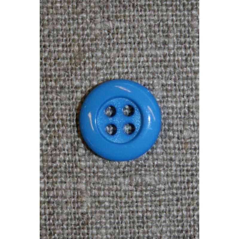 4-huls knap 12 mm, klar blå
