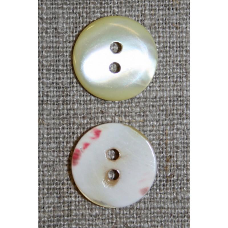 2-huls lysegul perlemorsknap, 17 mm.