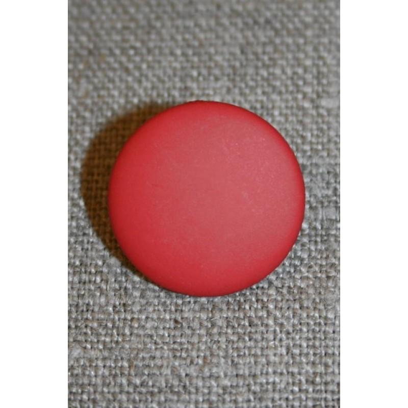 Orange-rød rund knap, 20 mm.