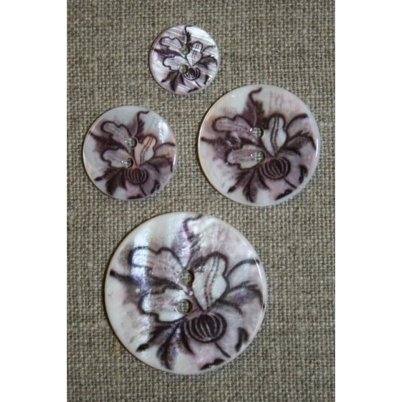 Perlemorsknap m/blomst, hvid/lilla/sort, 15 mm.-35