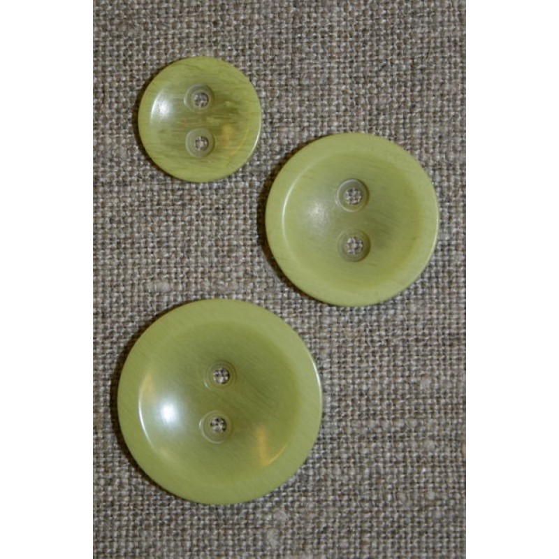 Lys lime 2-huls knap, 15 mm.