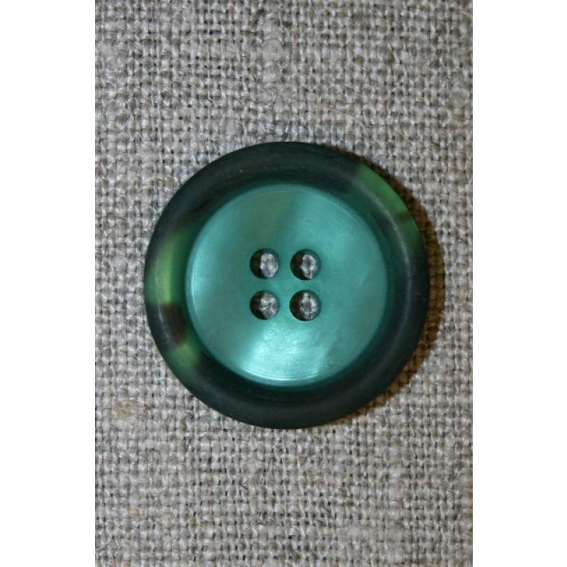 Petrol-grøn knap m/kant i army-look, 22 mm.