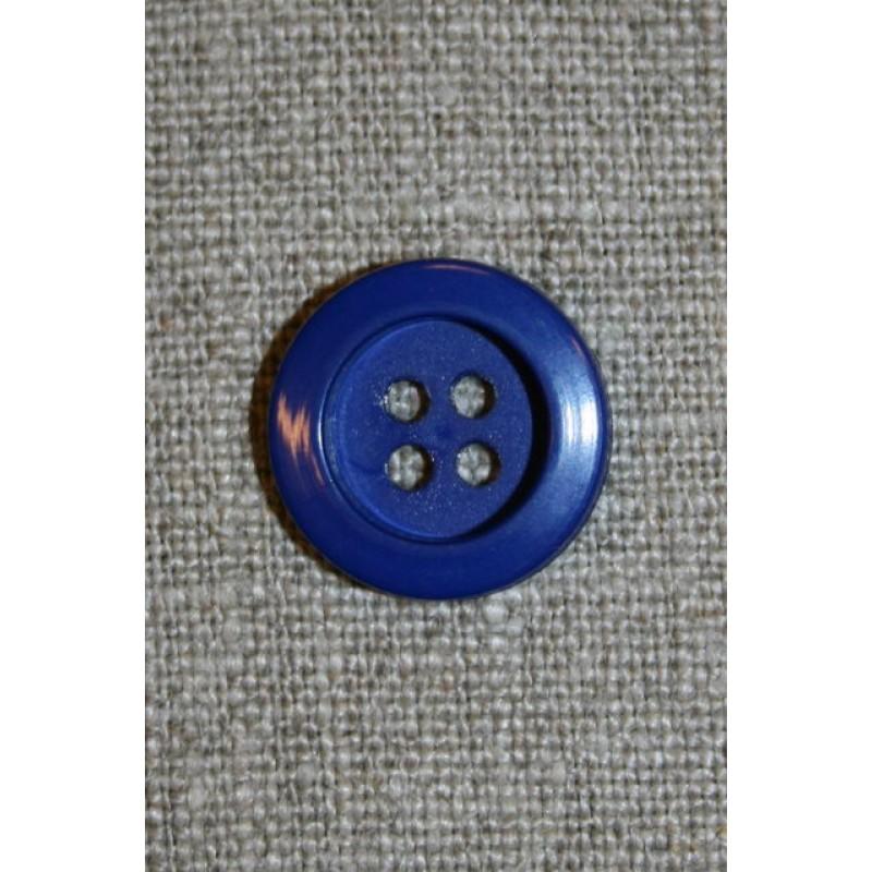Klar blå 4-huls knap, 18 mm.-31