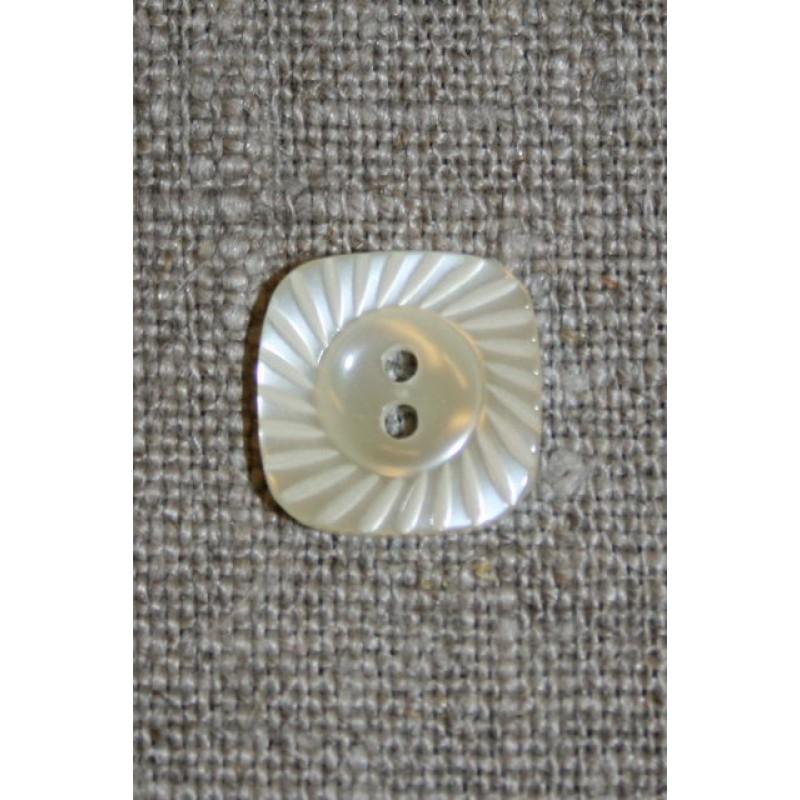 Off-white firkantet knap m/riller i kant-31
